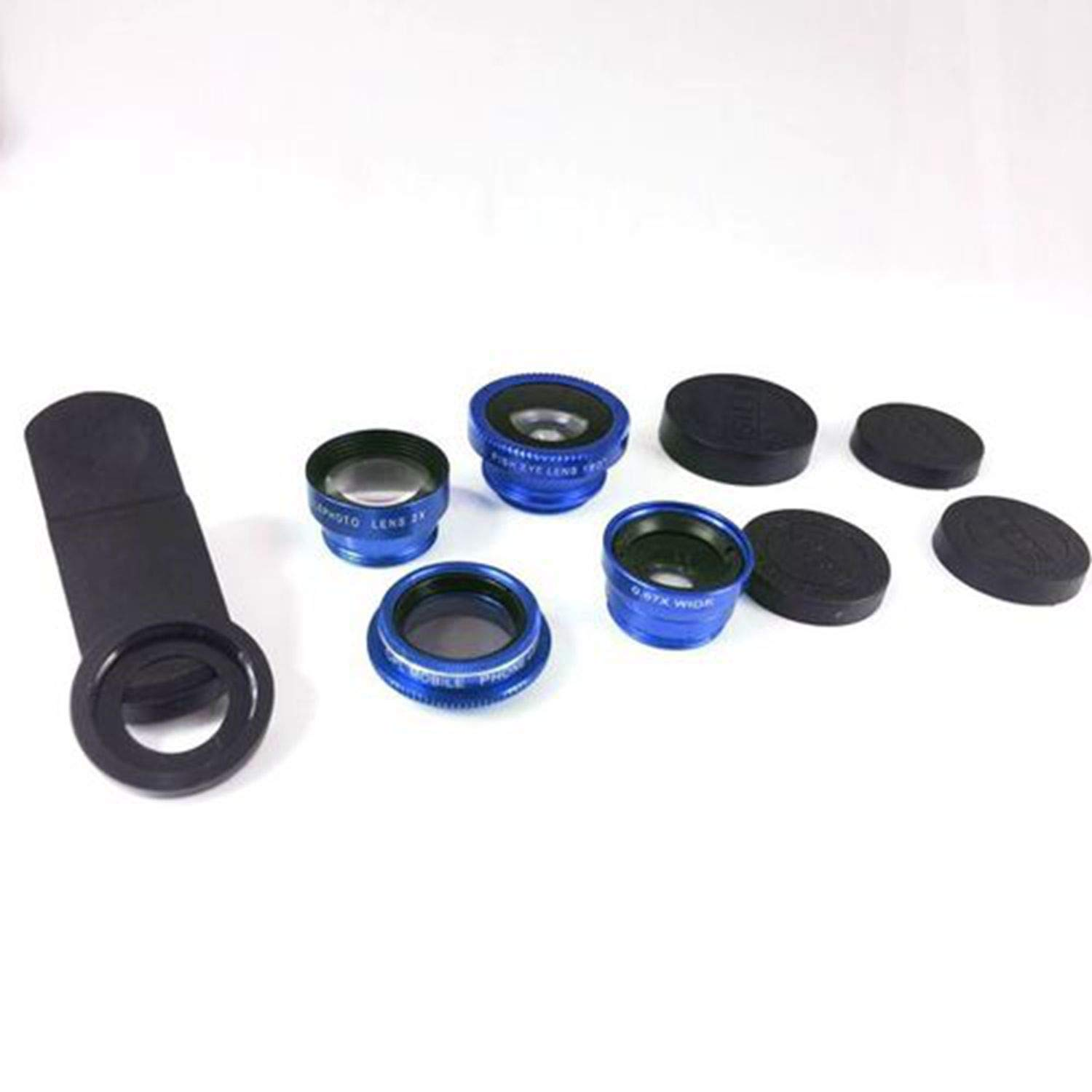 Universal Cell Phone 5 in 1 Fish Eye+Wide Angle+Macro+CPL+ 2.0X Telephoto Camera Clip-on Lens (Blue)