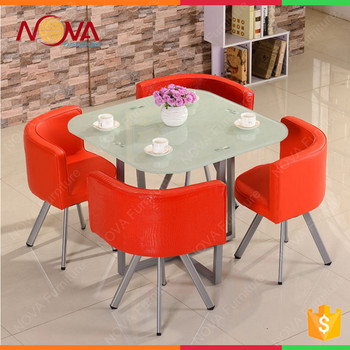 Dining Room Furniture Gl Metal 4 Chairs Table Set With Price