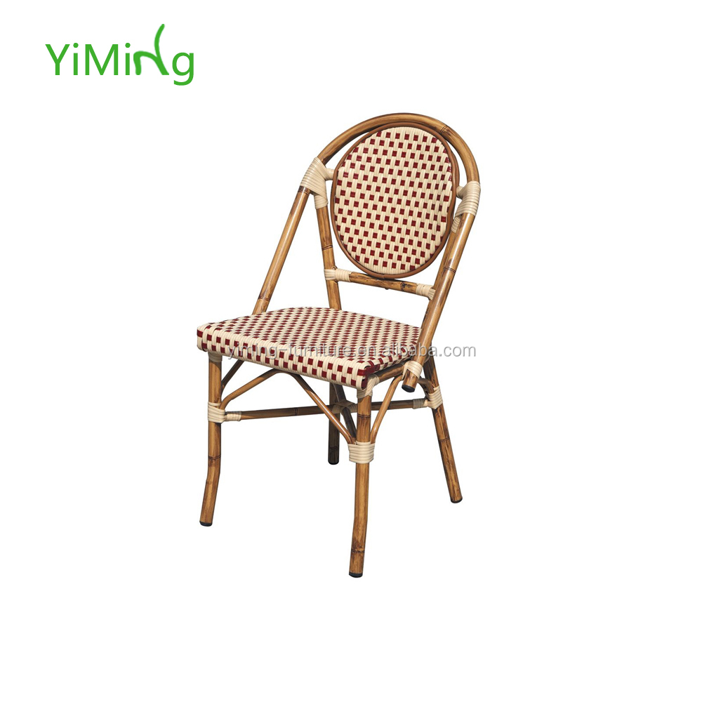 Cheap price stackable bamboo look aluminium frame dining chair french bistro rattan chairs