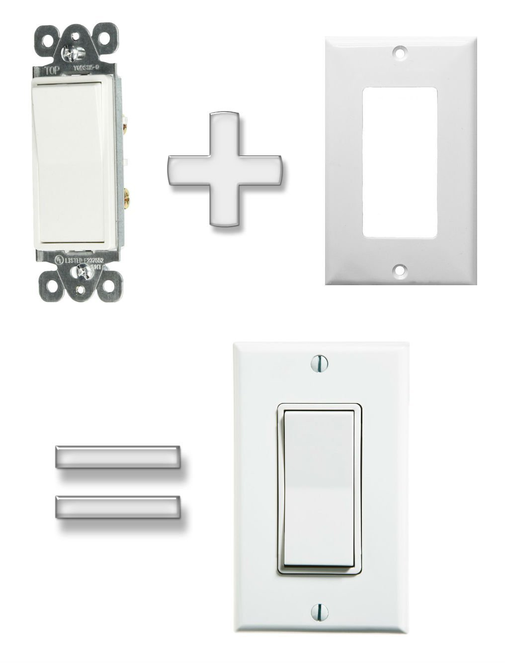 Decorative Light Switch & Wall Plate 2 items: Morris Products Item 82051 Decorative Switch Single Pole 15A-120/277V + Morris Products Item 81111 Lexan Wall Plates 1 Gang Decorative/GFCI White