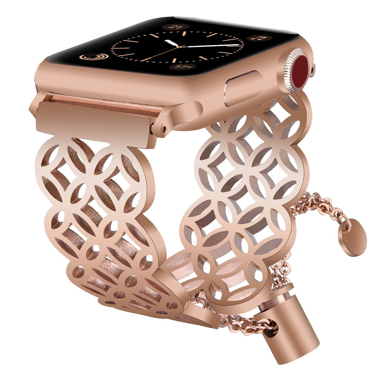 Apple Watch Band 42mm Women Men, VIGOSS Luxury Apple Watch Rose Gold Bands Jewelry Cuff Edition Bling Hollow Hoop Bracelet Stainless Steel Bangle Strap for iWatch Series 3/2/1,Nike+ (Window grille)