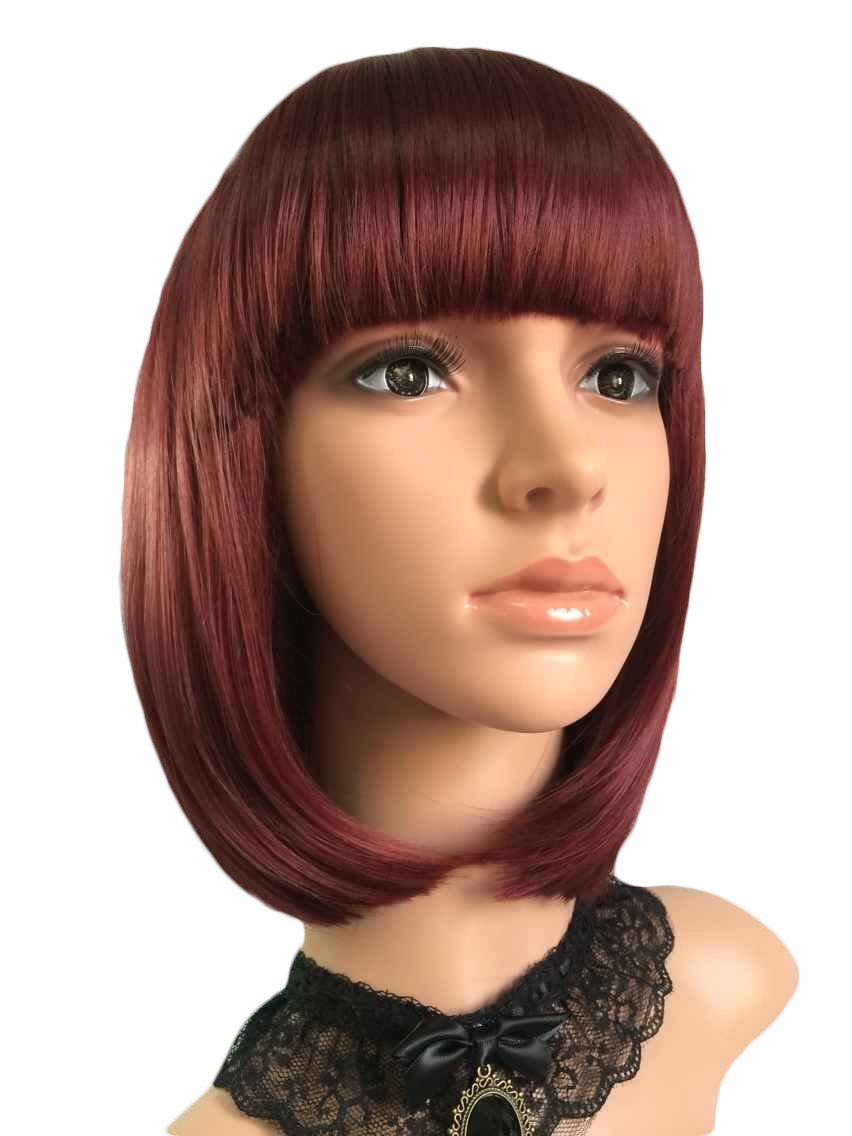 "eNilecor Short Bob Hair Wigs 12"" Straight with Flat Bangs Colorful Synthetic Cosplay Daily Party Wig for Women Natural As Real Hair+ Free Wig Cap (Wine Red)"