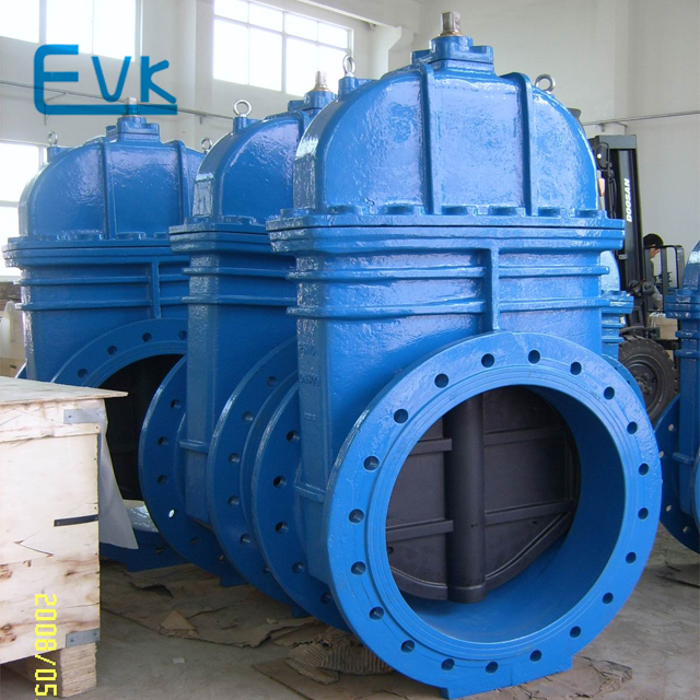Ductile iron manual rising stem rubber seat gate valve with pn10