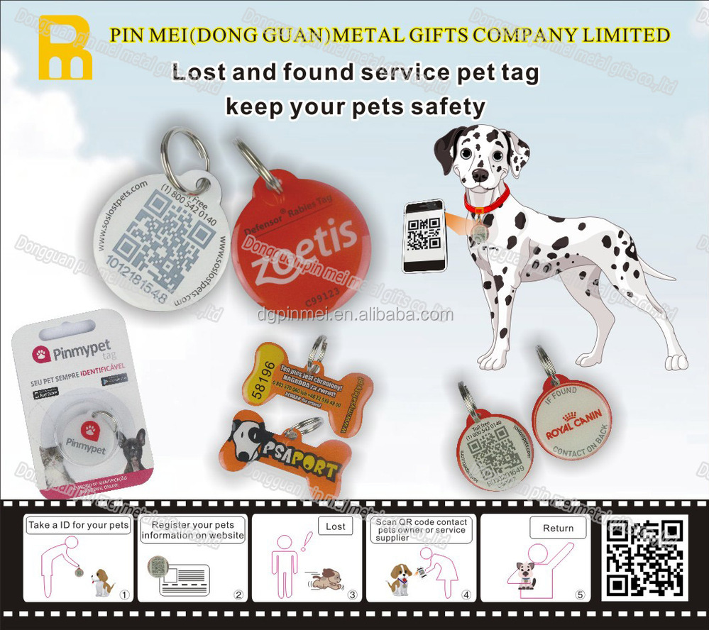 cheap custom logo qr code pet collar id tag for dogs and cats