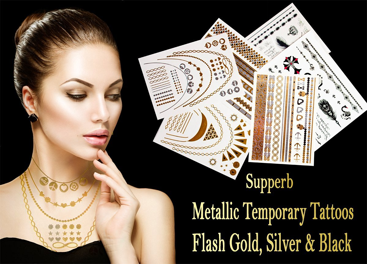 06eb134683241 Get Quotations · 6-sheets Pack Metallic Temporary Tattoos Gold Silver &  Black Body Temporary Metallic Tattoos,