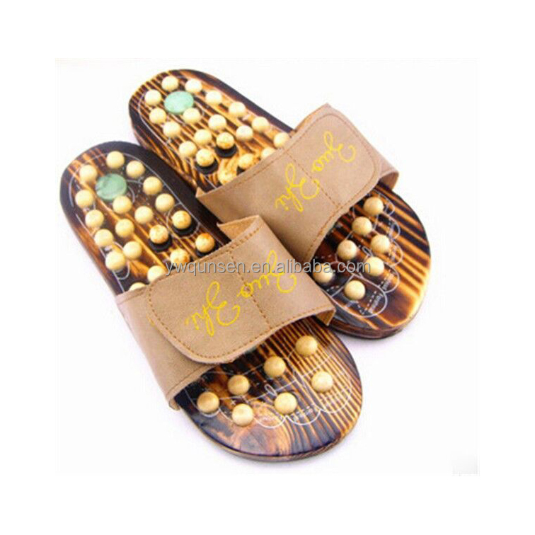 hot selling man foot massage wooden sole shoes
