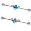 Bezel Set G23 Titanium Blue Opal Flower Custom Industrial Barbell Body Piercing