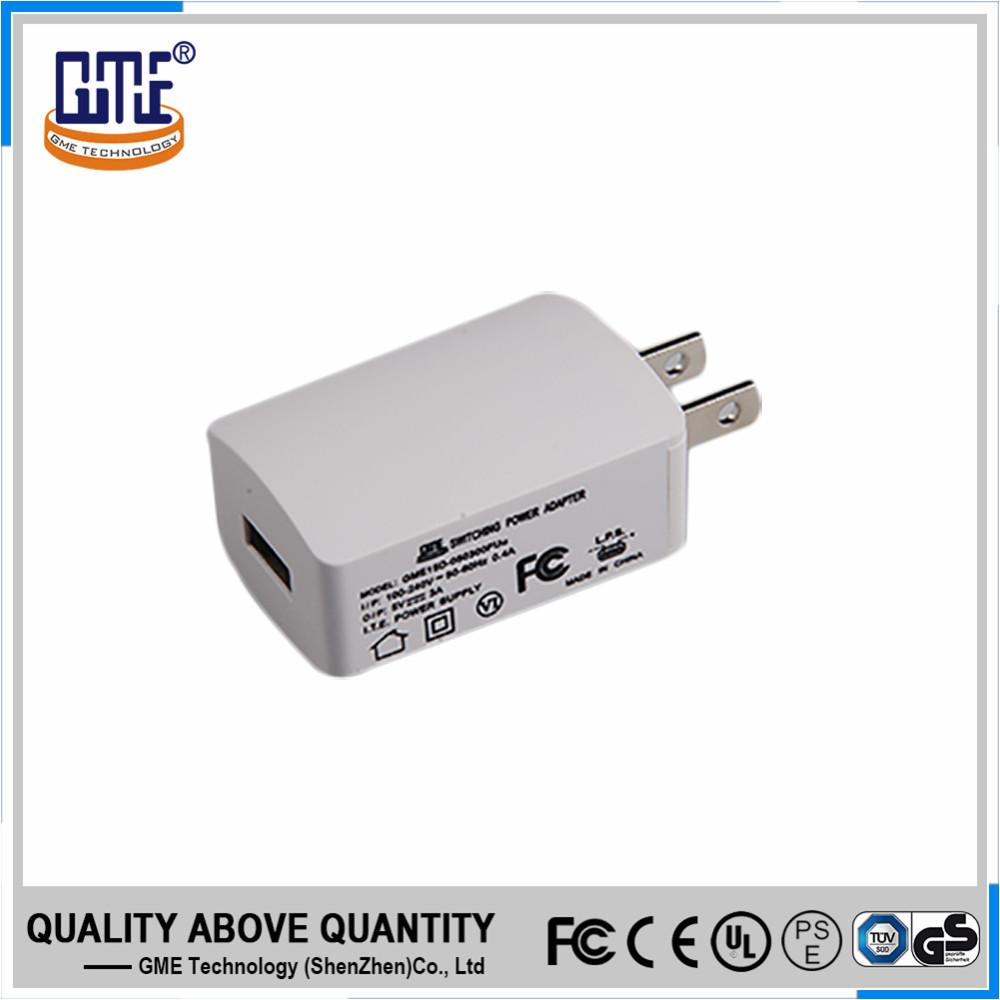 UL PSE FCC approved white US plug 100-240v ac dc 5V 3A USB adapter