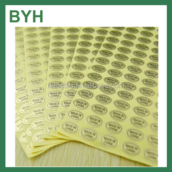 Oval Shape , Made in China Mark self adhesive sticker