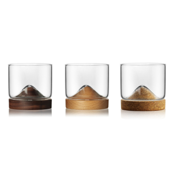 Wholesale Creative Heat Resistant 120 ml Small Glass Cup With Mountain Shape Coaster