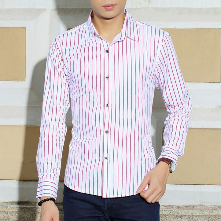 Сорочка homme весна осень длинный рукав приталенный fit импортные одежда мужчины одежда чистый хлопок бизнес полоска рубашка мужчины 9855