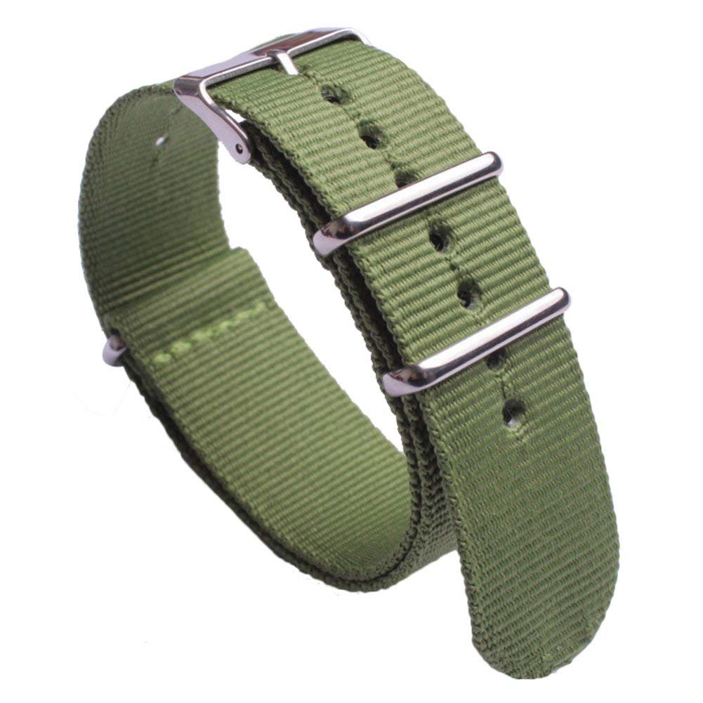 NATO Watch Band with Stainless Steel Buckle Green Premium Ballistic Nylon Watch Strap Replacement Wristband Width 18mm 20mm 22mm 24mm