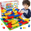 Free shipping DIY Construction Marble Race Run Maze Balls Track Plastic House Building Blocks Toys for