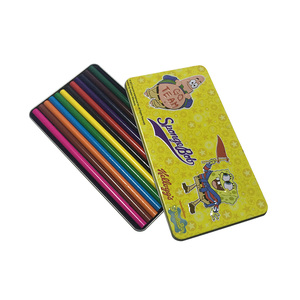 Promotional crayon metal tin box,Hinged rectangular package pencil case for color pen