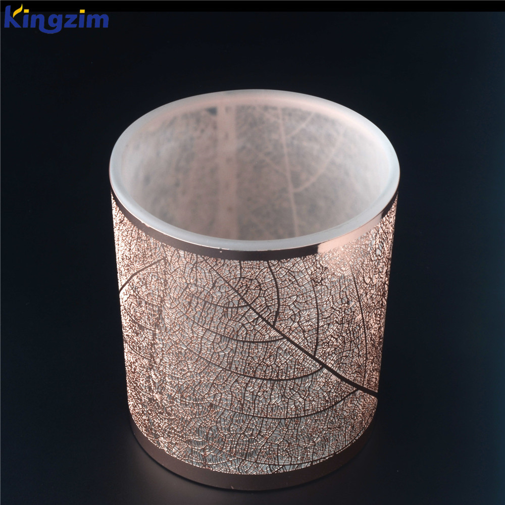 Custom luxury design metal lace 칼 무 장식 rose 금 아로마 양 candle (gorilla glass) jar