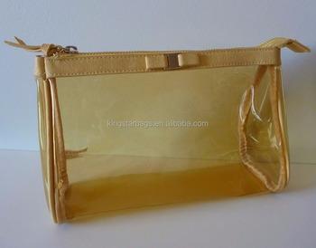 Gold See Through Makeup Cosmetics Bag