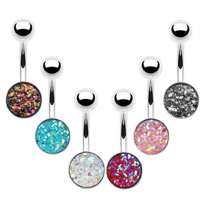 316L Stainless Steel Faux Druzy Belly Button Ring Dangle Navel Rings Body Piercing(6PCS/Set)