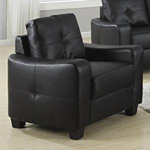 Coaster Jasmine Transitional Bonded Leather Chair, Black
