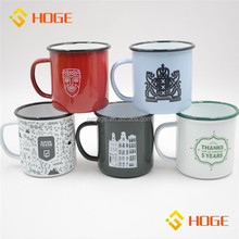 Nordic Minimalist Style 0.5mm Thickness Top Quality Carbon Steel Customized Enamel Coating Metal Cup Mugs With Square Handle