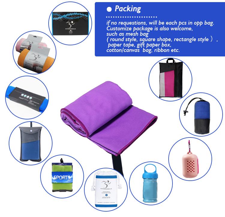 Antibatterico e riciclare quick dry stampato in microfibra scamosciata tovagliolo di sport