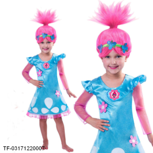 Children Summer Trolls wig Dress Christmas Costumes For Girls Lace Mesh Dress Baby Girls Teenage Children party Clothing