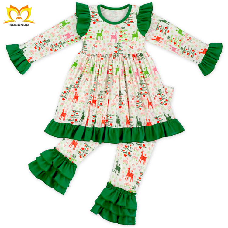 Boutique Baby Girls Christmas Outfits Kids Children\'s Ruffle ...