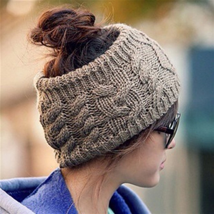 Women Winter Empty Top Knitted Hat