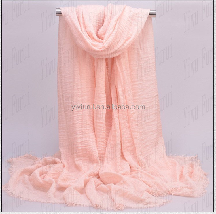 Premium Scarf New Shades Soft Cotton Crinkle Viscose Hijab High Quality Crimp Scarves