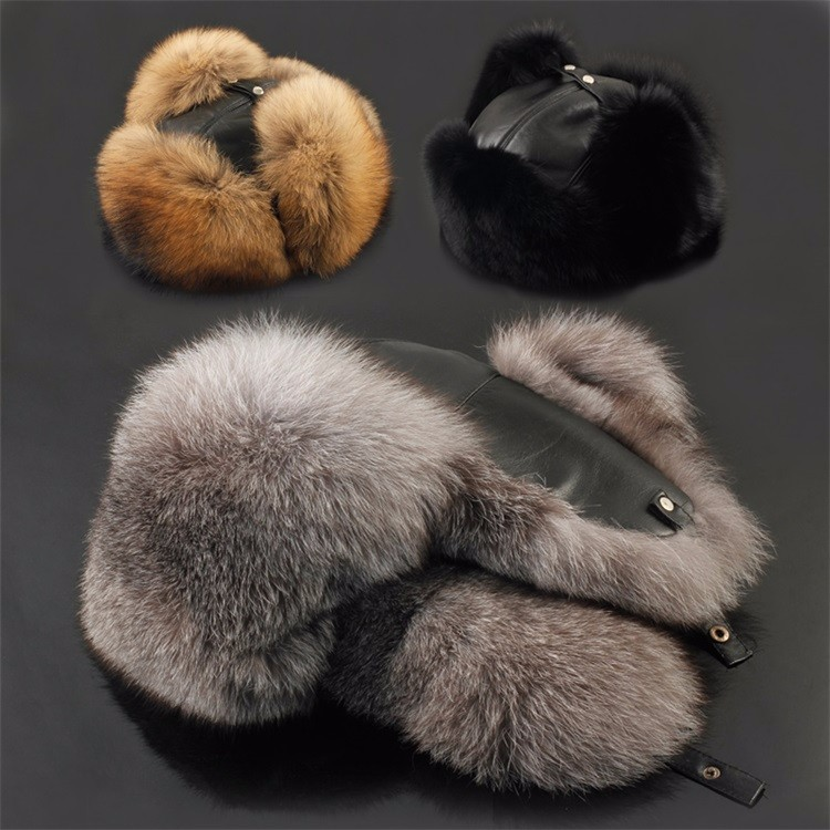 e98121823b1 2017 New Winter Hats For Women men Real Leather Fox raccoon Fur Hat ...