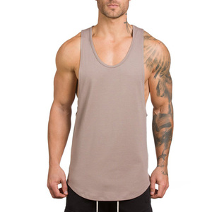 2019 new custom made fitness sport singlet tank tops cotton gym tank top shirts for men