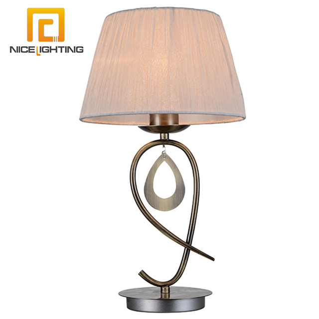 Nice Lighting Hotel Modern E27 Metal Antique Bronze Beige Folder Bed Side Decorate Table Lamp
