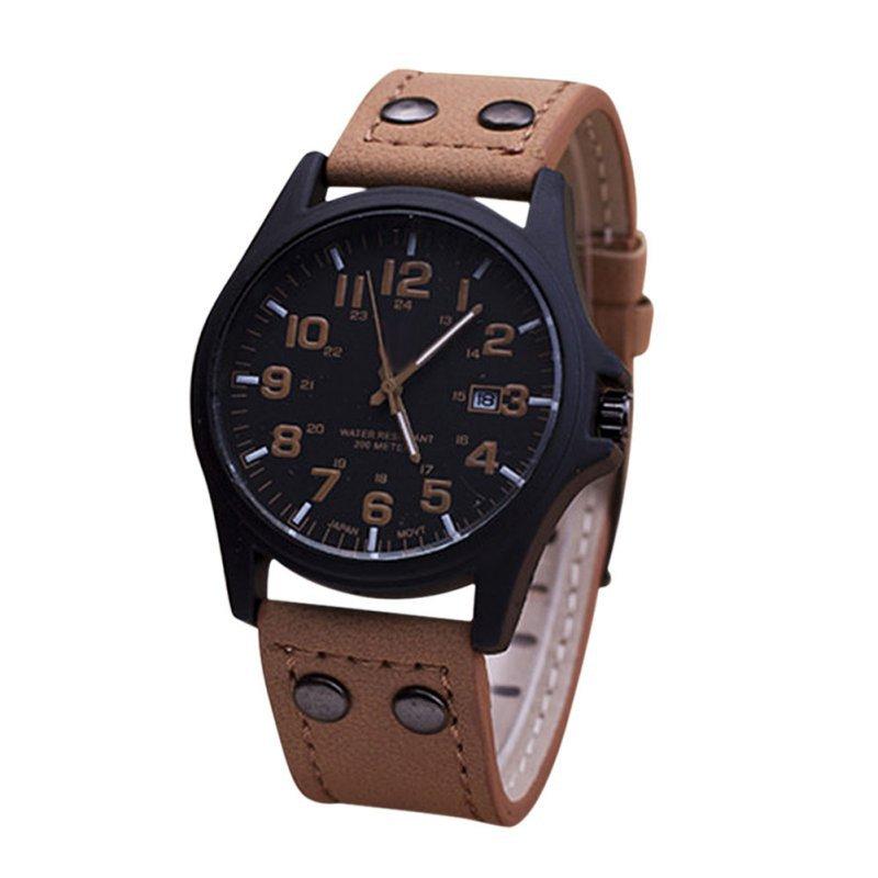 Мужская мода спортивные часы мужчины военный кожаный ремешок кварцевые наручные часы