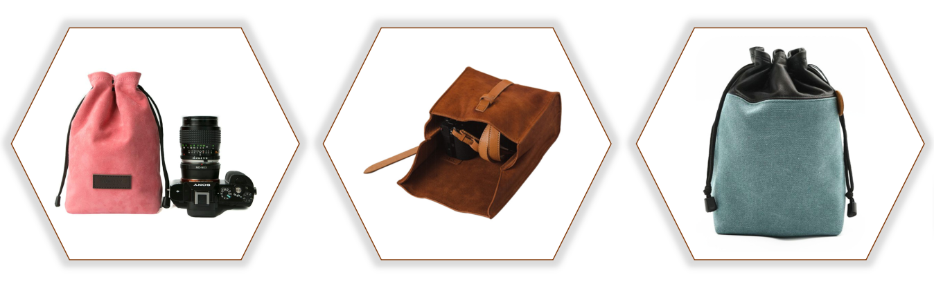 High Quality Leather Camera Pouch, Dslr Canvas Camera Bag, Leather Camera Case