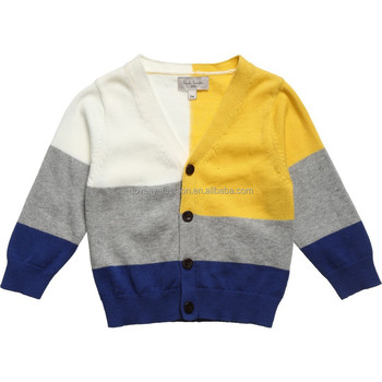 Fashion Baby Boy Sweater Designs V Neck Color Block Baby Boy