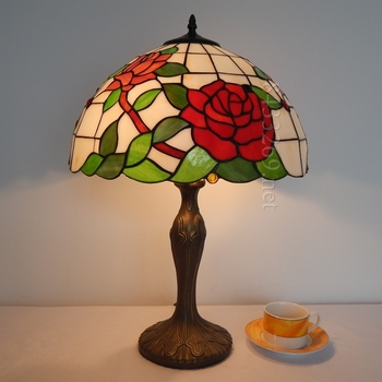 16inch tiffany style table lamp with latest rose design for you 16S0-69T311