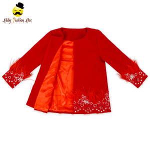 Ostrich Hair Sequin Florals Round Collar Retro Red Woolen Baby Kids Girl Winter Coat Boutique