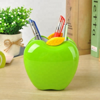 Lage MOQ Mooie Rood Groen Apple Vorm Pen Potlood Pot Holder Container Organizer