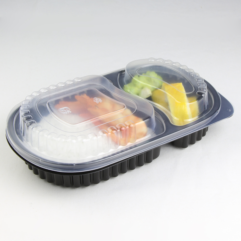 650 ml 2 Compartimenten Microwavable Plastic Fastfood Wegwerp Voedsel Containers Bento Lunchbox