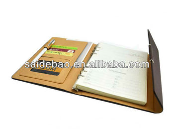 pu leather cover agenda organizer planner notebook with card