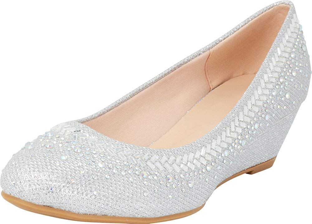 cf8689ab5e5 Get Quotations · Cambridge Select Women s Glitter Crystal Rhinestone Closed  Round Toe Slip-On Wedge