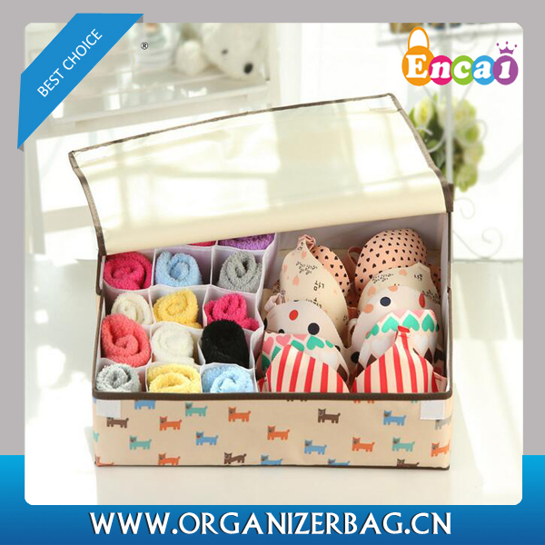 Encai New Arrival Underwear Storage Box For Underpant & Socks Collapsible High Quality Fabric Storage Box With Lid