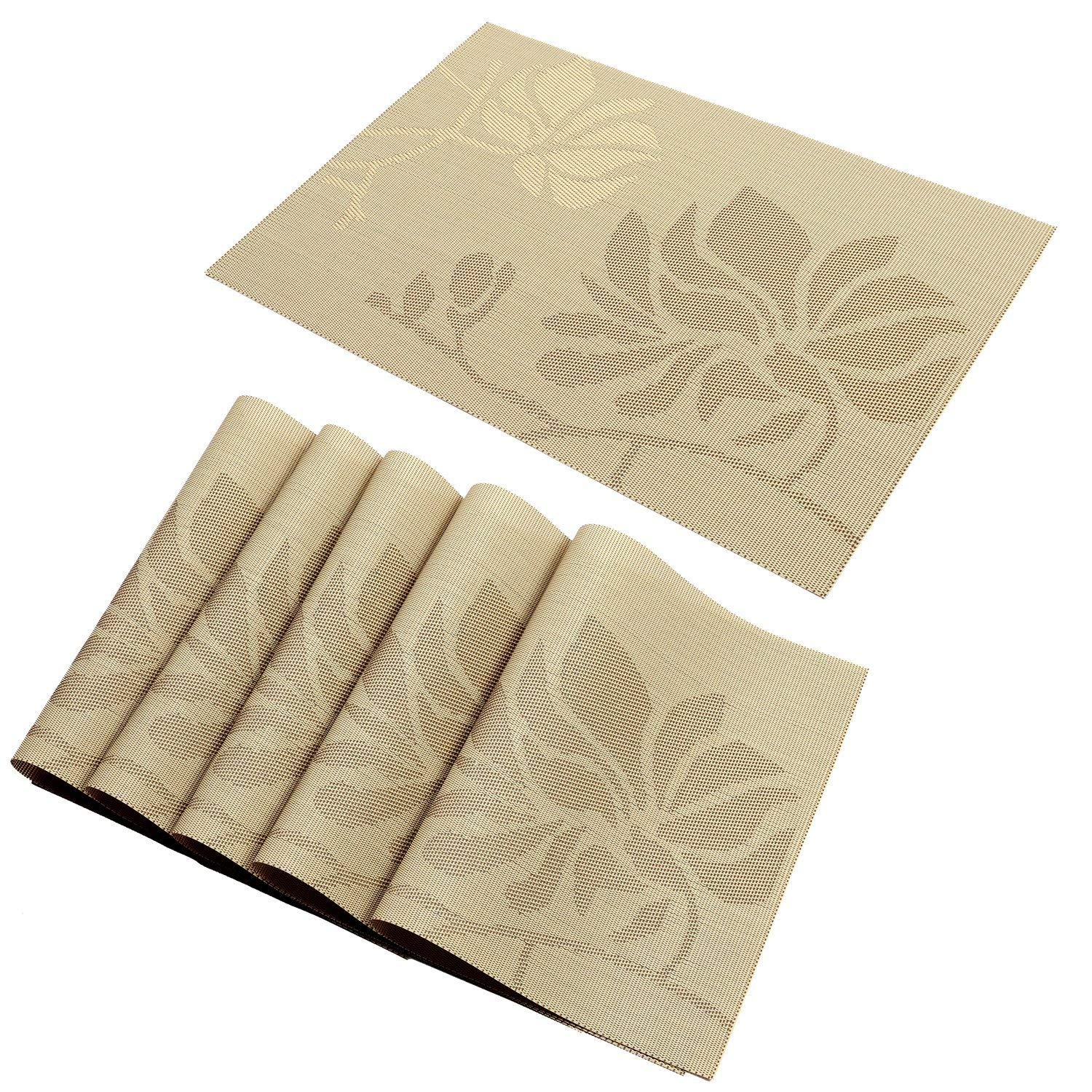hebe Placemats Set of 8 Durable Placemat for Dining Table Heat Resistant Crossweave Woven Vinyl Kitchen Table Mats Placemat Washable Easy Clean(Cream, 8)