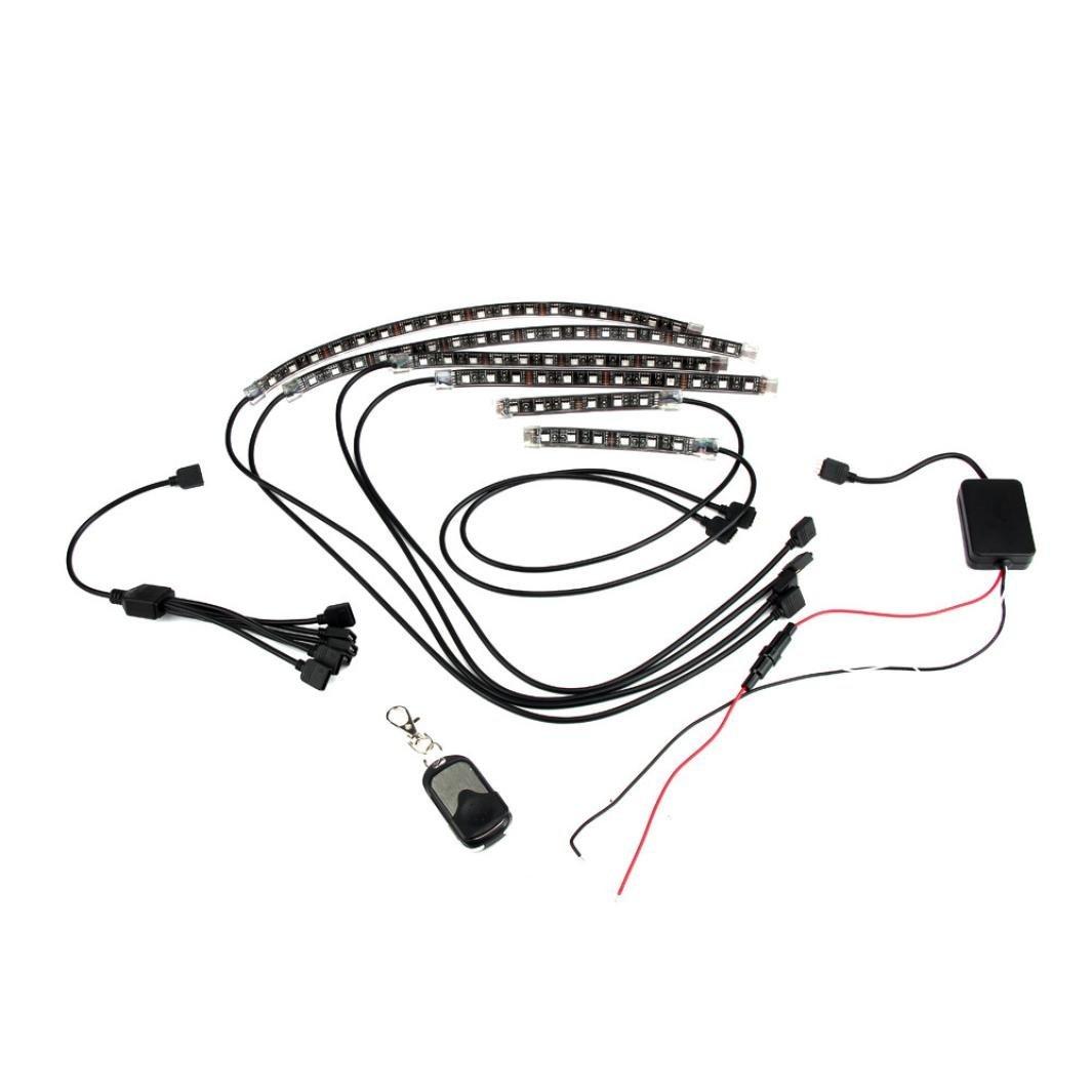Car Light,Saingace 18 Color 6pcs RGB Motorcycle ATV Flexible Strip LED Light Lamp NEON Remote Kit