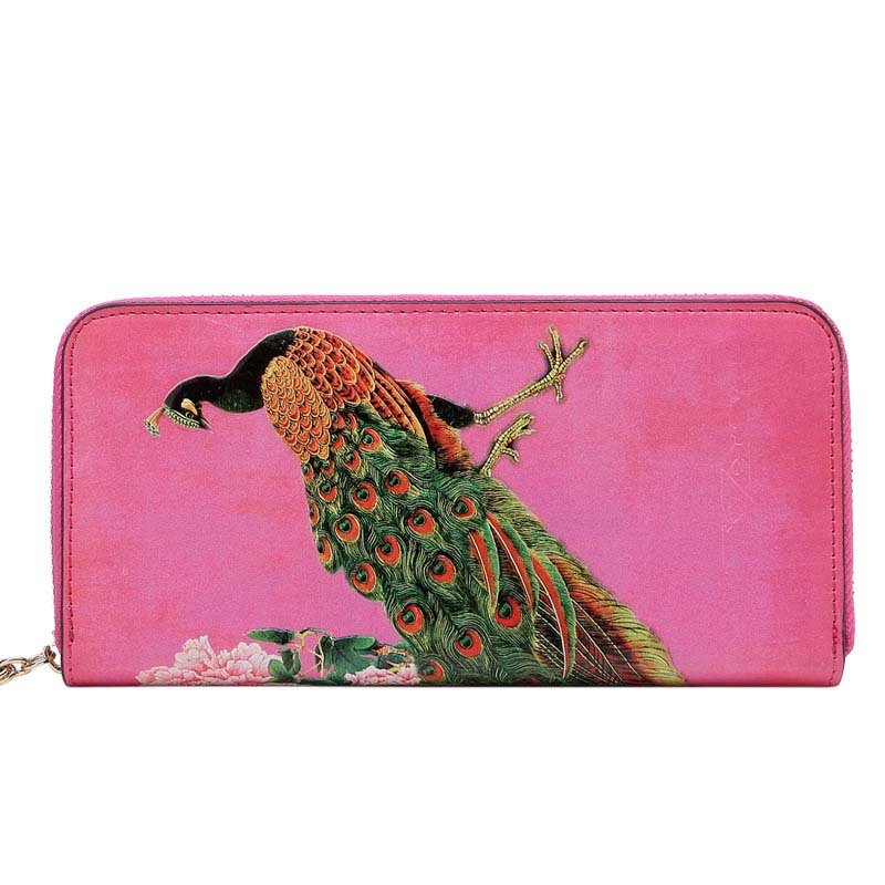 2015 New Fashion Painting Wallet Peacock Pattern Lady Zipper Long Wallet Genuine Leather Wallet Women Clutch Purse Female 9022