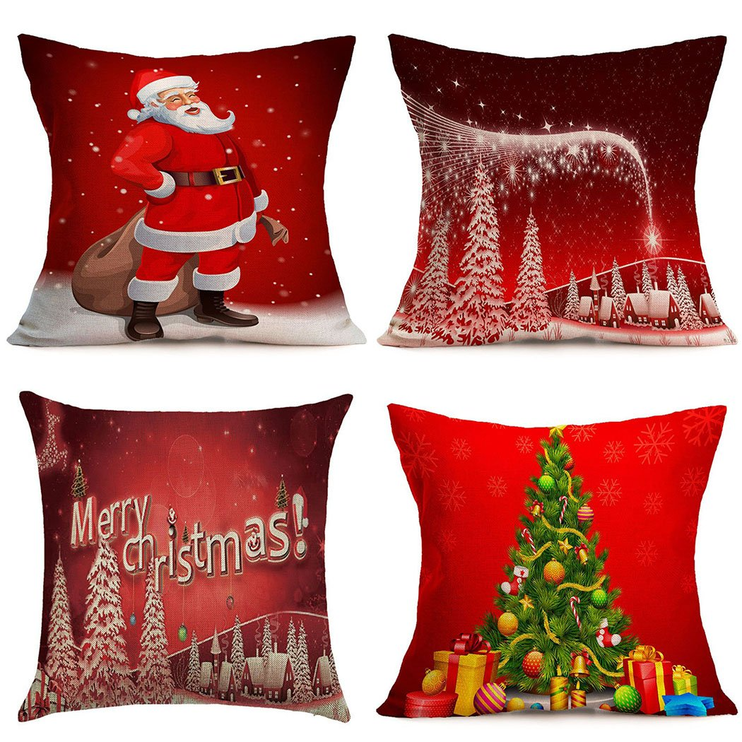 Christmas Pillow Covers 4 Pack,BPFY Print Merry Christmas,Christmas Tree,Santa Claus, Merry Christmas Decorative Sofa Throw Pillow Case Cushion Covers 18 X 18 Inch