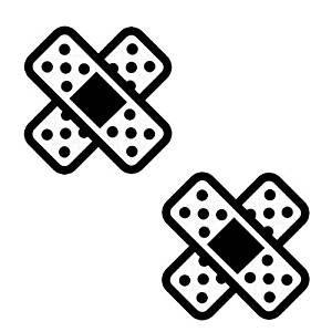 (Pack of 2) iJDMTOY JDM Style Crossing Shape Band-Aid Die-Cut Decal Vinyl Stickers, Black