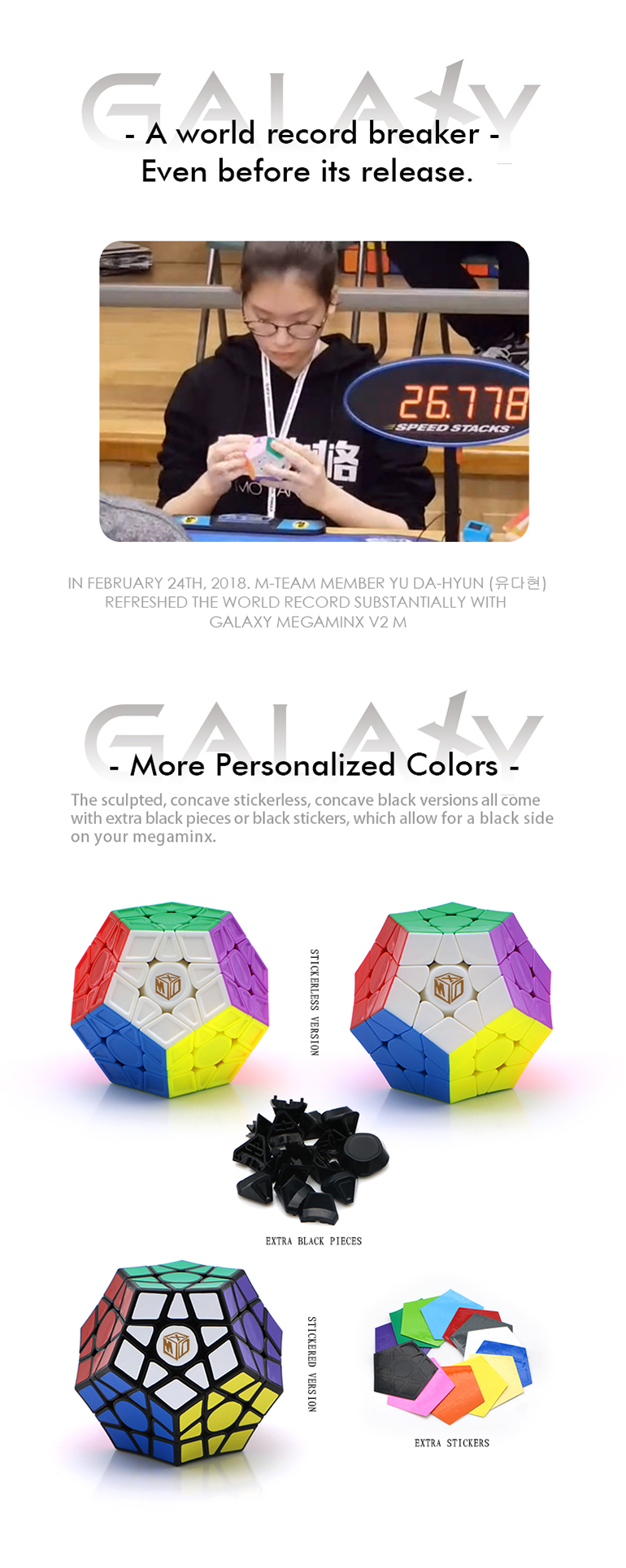 Galaxy V2 M stickerless speed puzzle toy cube antistress with 70mm