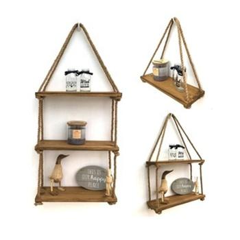 Decorative Rustic Floating Wooden Corner Wall Shelf Vintage Wood Hanging Rope Swing Shelves
