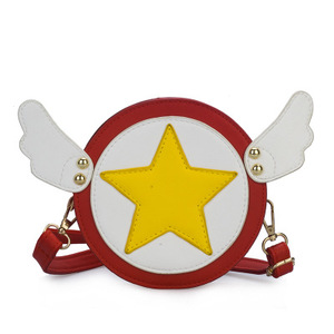 Children angel wings small round bag cute five-pointed star crossbody bag boys and girls mini shoulder bag