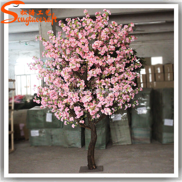 artifical trees fake plants silk flower artifical cherry blossom wedding decoration trees plastic cherry blossom tree